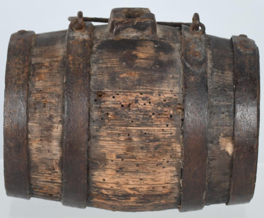 18th-19th CENT. WOOD IRON BANDED CANTEEN