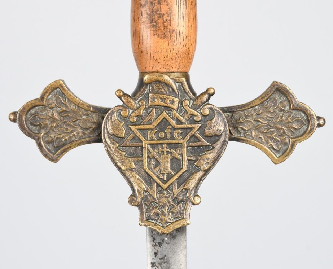 19th CENT. K of C FRATERNAL SHORT SWORD - 5