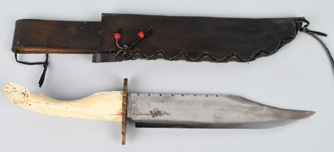 INDIAN BOWIE KNIFE w/ BONE & TURQUOISE HANDLE