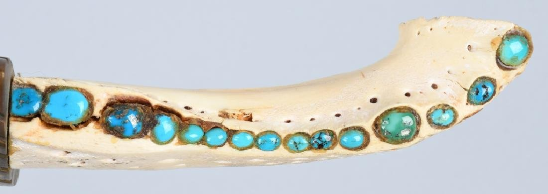 INDIAN BOWIE KNIFE w/ BONE & TURQUOISE HANDLE - 3