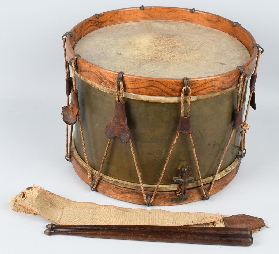 1870s A.T. BAIRD BRASS & WOOD DRUM w/ STICKS