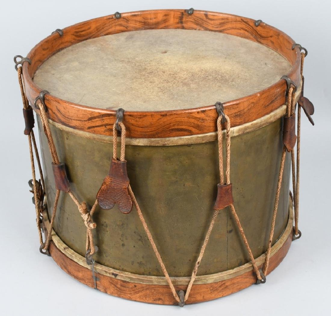 1870s A.T. BAIRD BRASS & WOOD DRUM w/ STICKS - 3