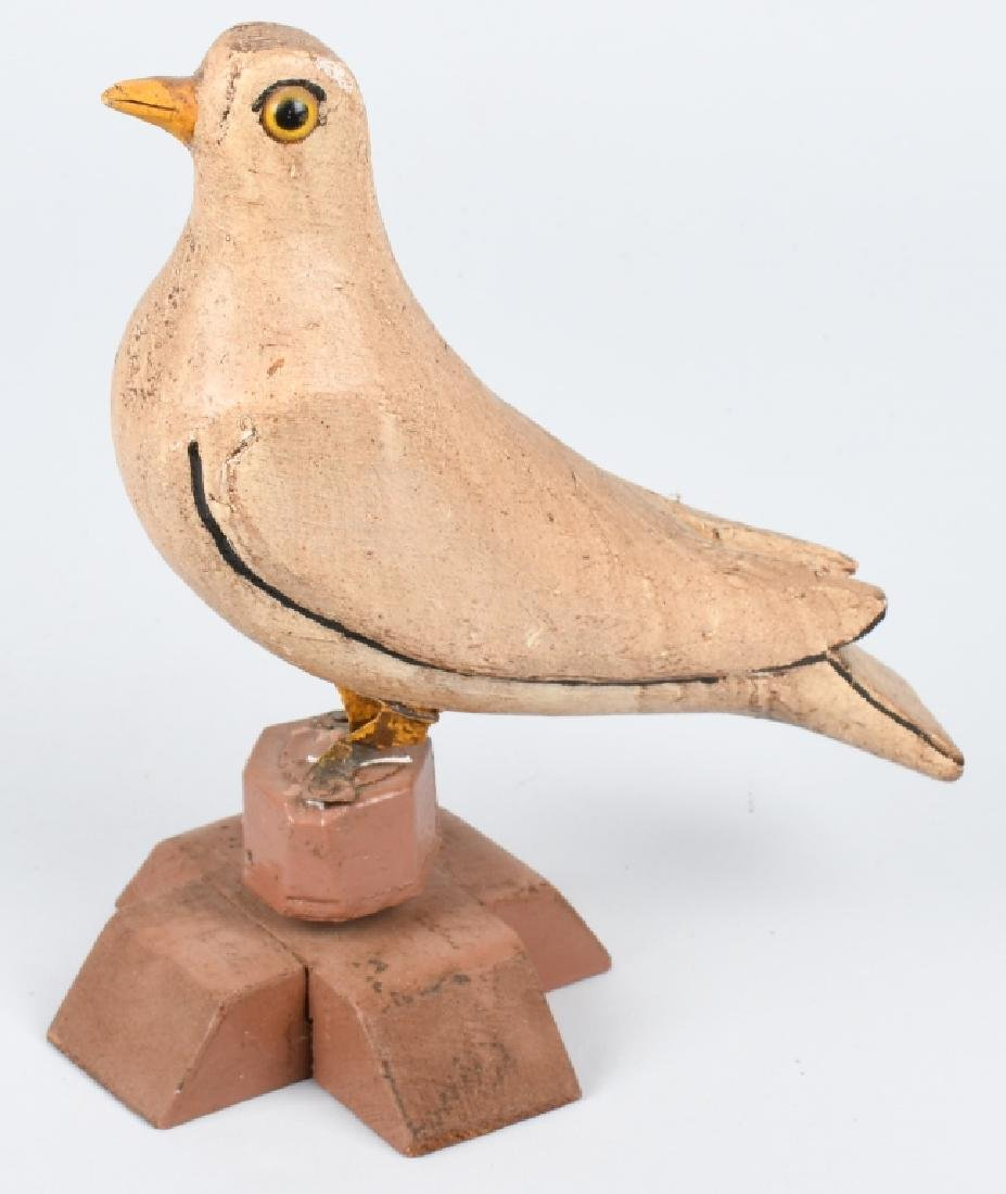 EARLY FOLK ART CARVED WOOD DOVE DECOY