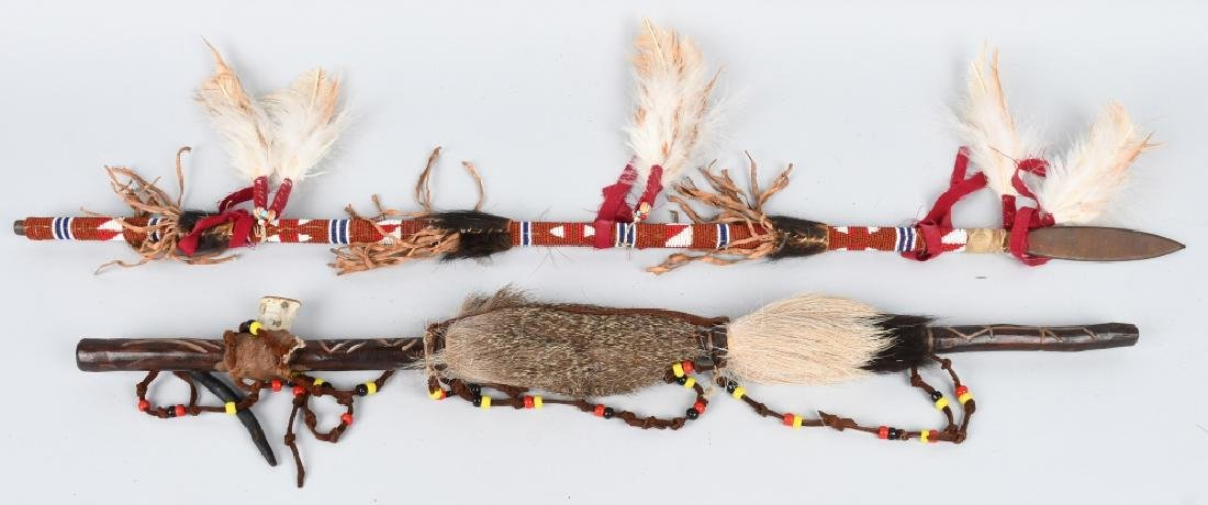 NATIVE AMERICAN PEACE PIPE & BEADED SPEAR
