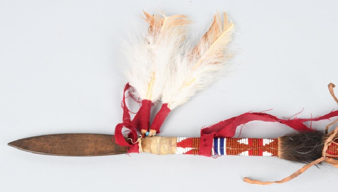 NATIVE AMERICAN PEACE PIPE & BEADED SPEAR - 2