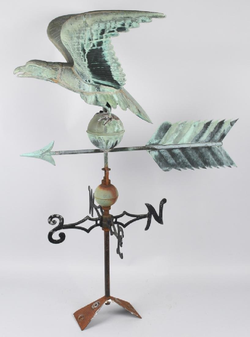 LARGE COPPER AMERICAN EAGLE WEATHER VANE - 18