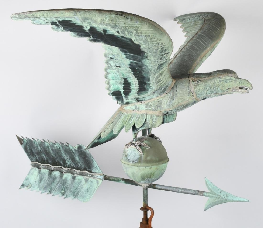 LARGE COPPER AMERICAN EAGLE WEATHER VANE - 2