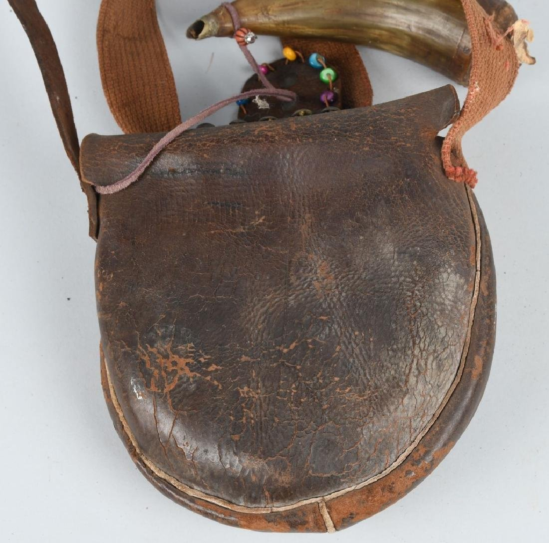 ANTIQUE LEATHER HUNTERS POUCH & POWDER HORN - 5