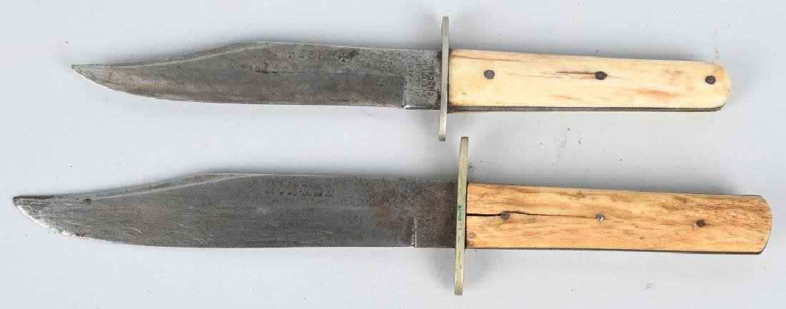 2- 19th CENT. SHEFFIELD STAG GRIP HUNTING KNIVES