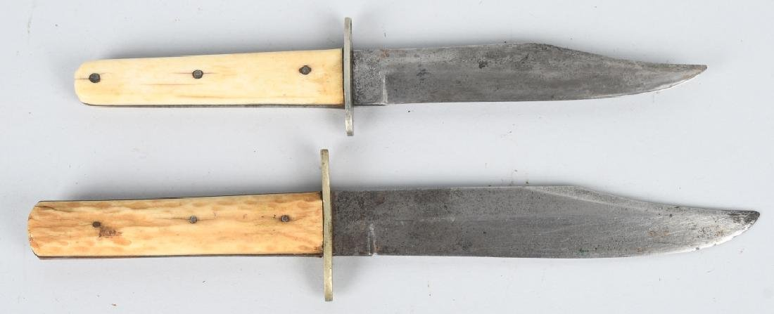 2- 19th CENT. SHEFFIELD STAG GRIP HUNTING KNIVES - 2