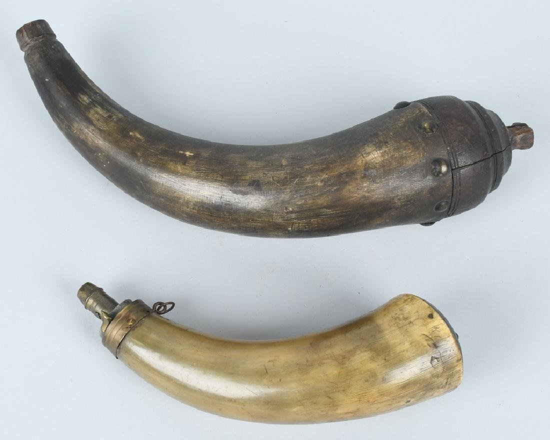 2-19th CENT. CARVED GUNPOWDER HORNS