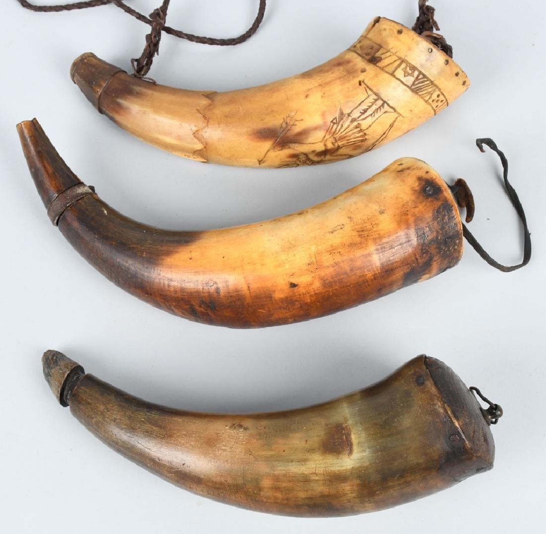 3-19th CENT. CARVED GUNPOWDER HORNS