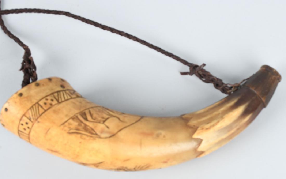 3-19th CENT. CARVED GUNPOWDER HORNS - 2