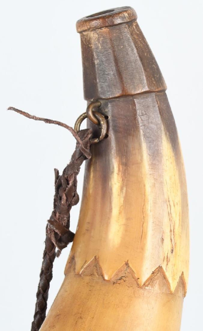 3-19th CENT. CARVED GUNPOWDER HORNS - 3