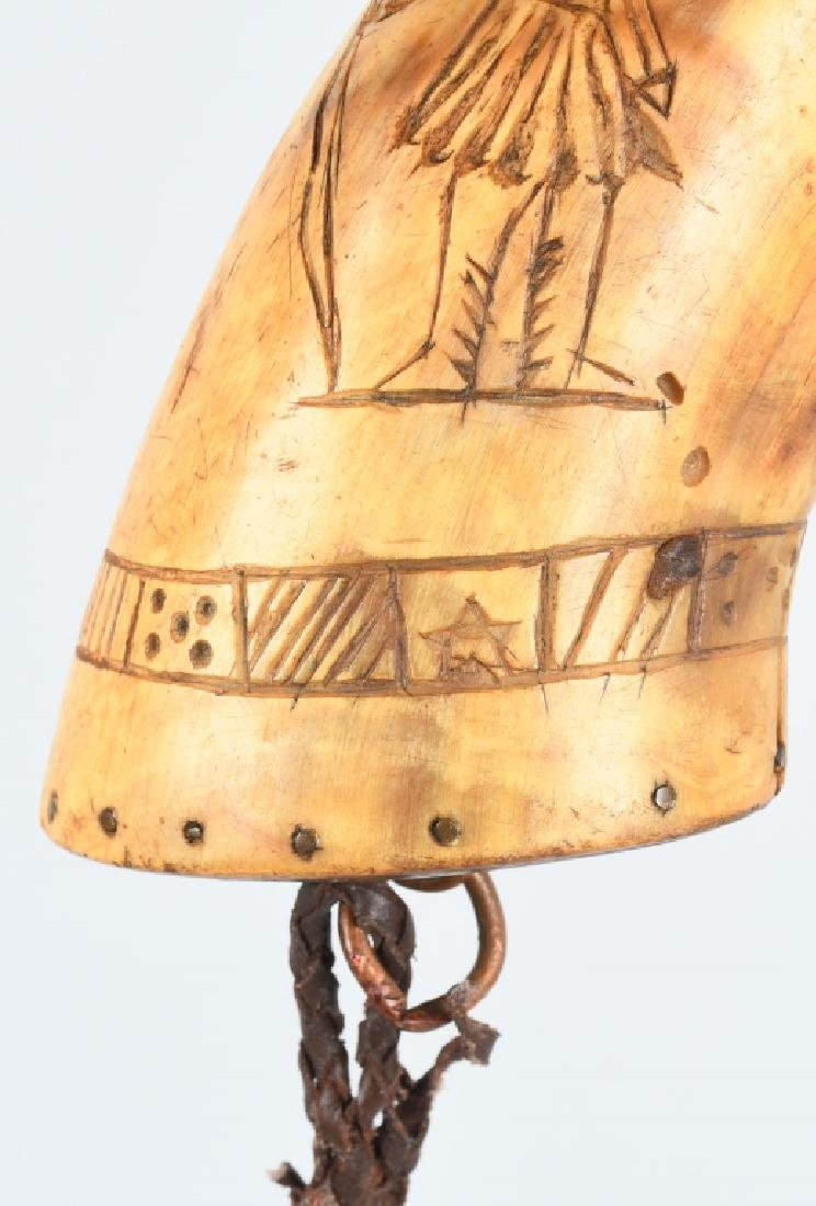 3-19th CENT. CARVED GUNPOWDER HORNS - 6
