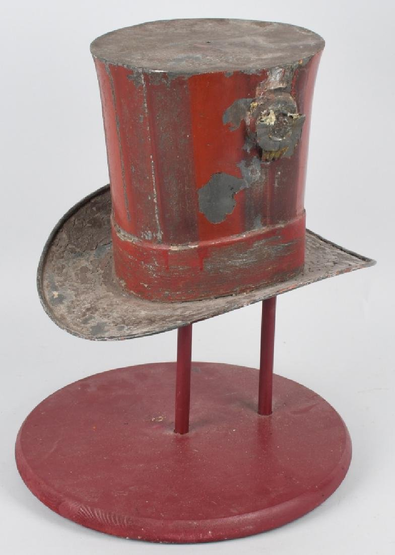 19th CENT. PAINTED TIN TOP HAT TRADE SIGN