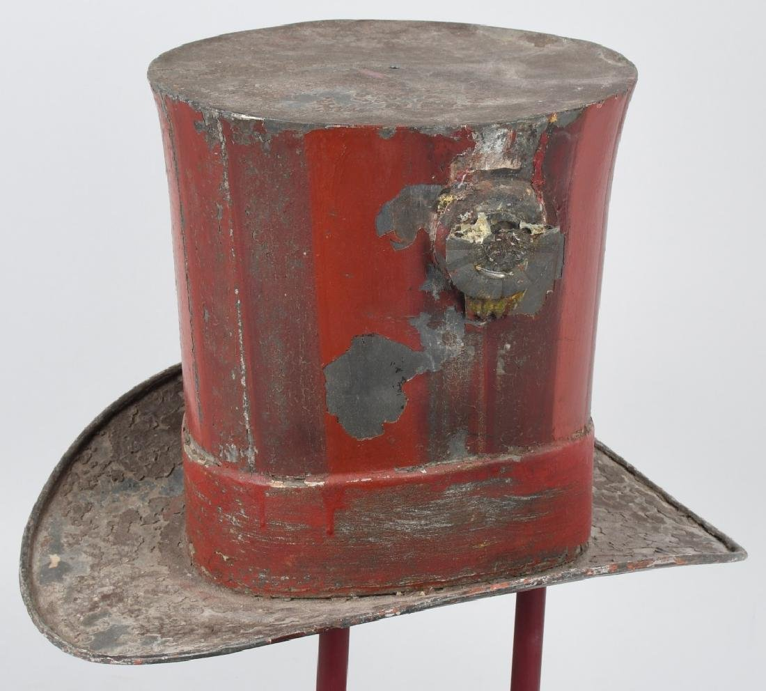 19th CENT. PAINTED TIN TOP HAT TRADE SIGN - 2