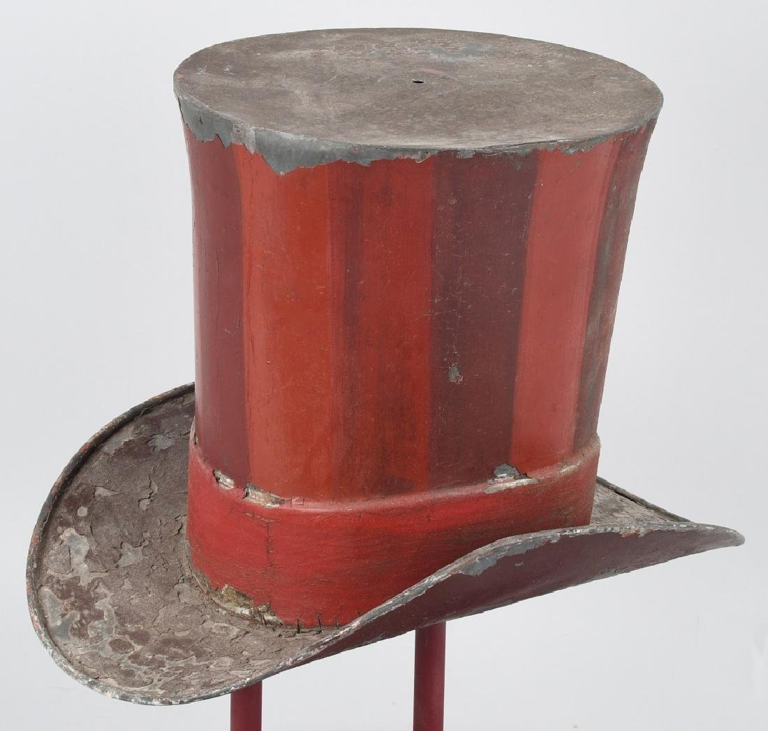 19th CENT. PAINTED TIN TOP HAT TRADE SIGN - 5