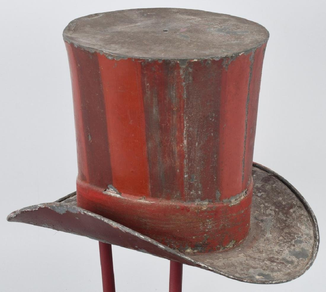 19th CENT. PAINTED TIN TOP HAT TRADE SIGN - 6
