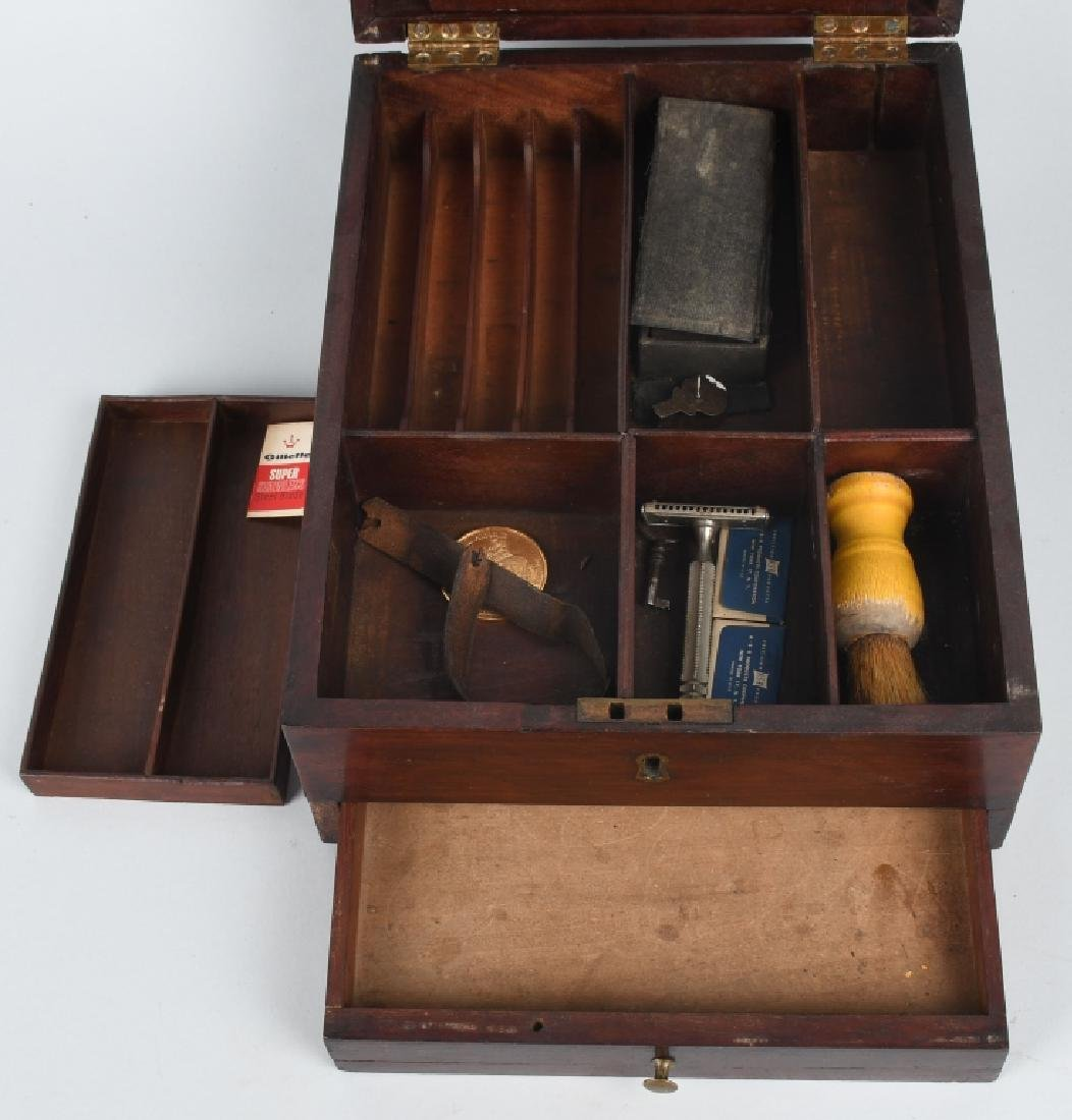 ANTIQUE CHERRY WOOD SHAVING & TRAVEL BOX - 3