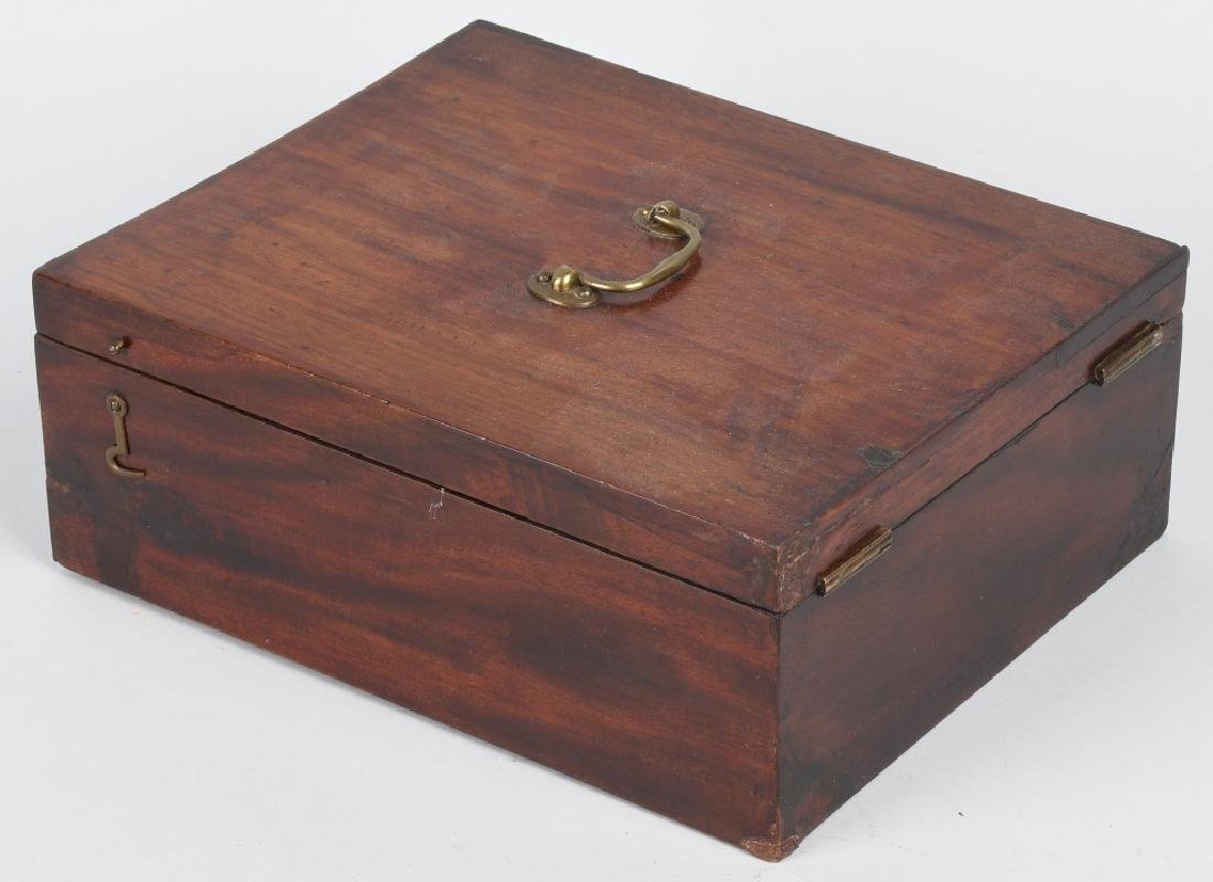 ANTIQUE CHERRY WOOD SHAVING & TRAVEL BOX - 6