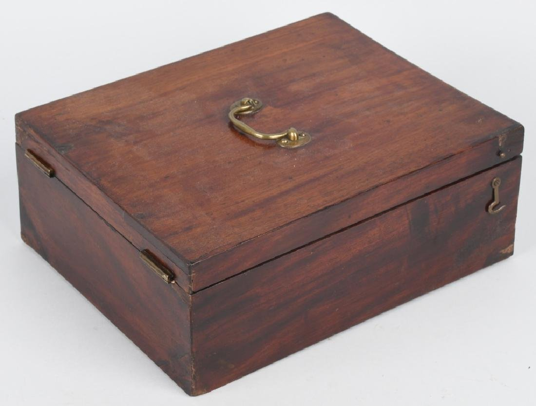 ANTIQUE CHERRY WOOD SHAVING & TRAVEL BOX - 7