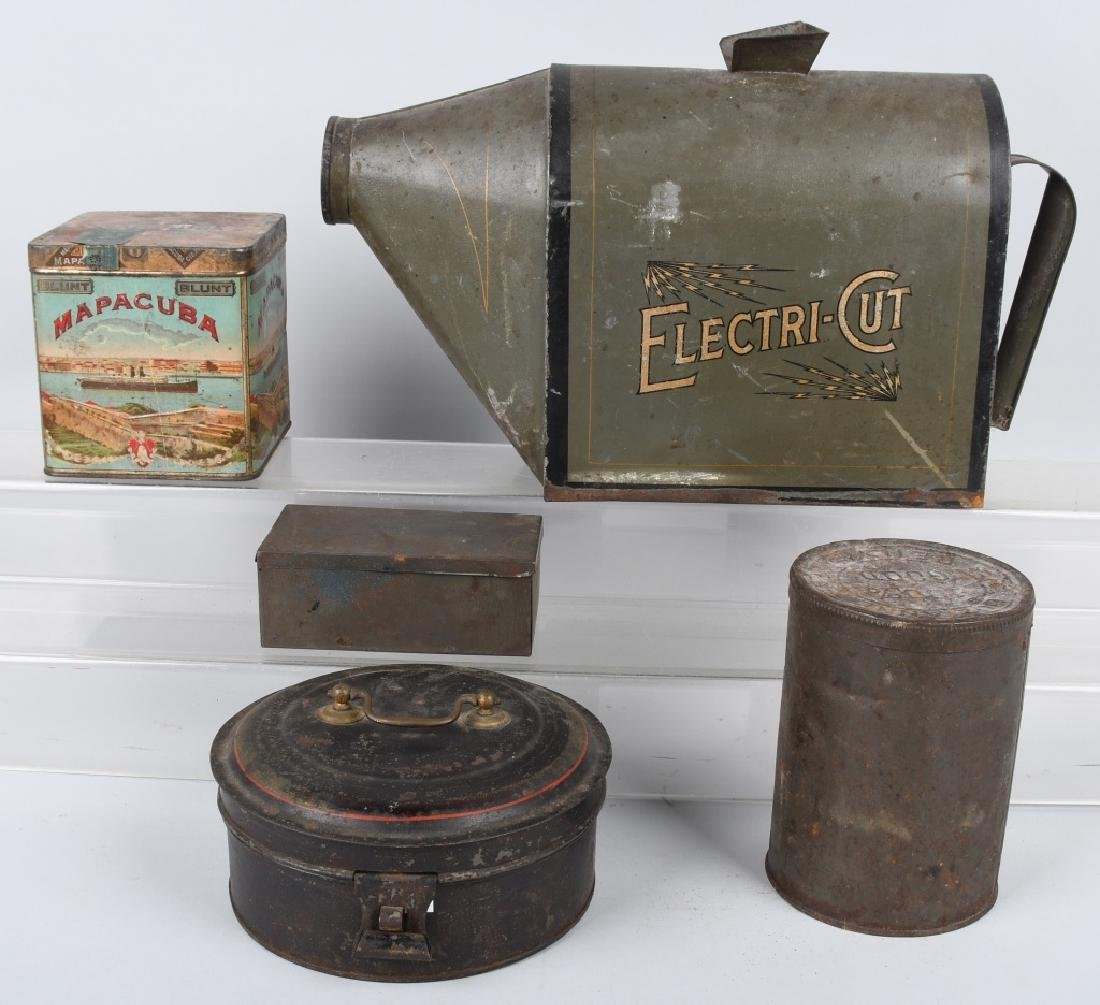 5-VINTAGE TINS, TOBACCO & MORE