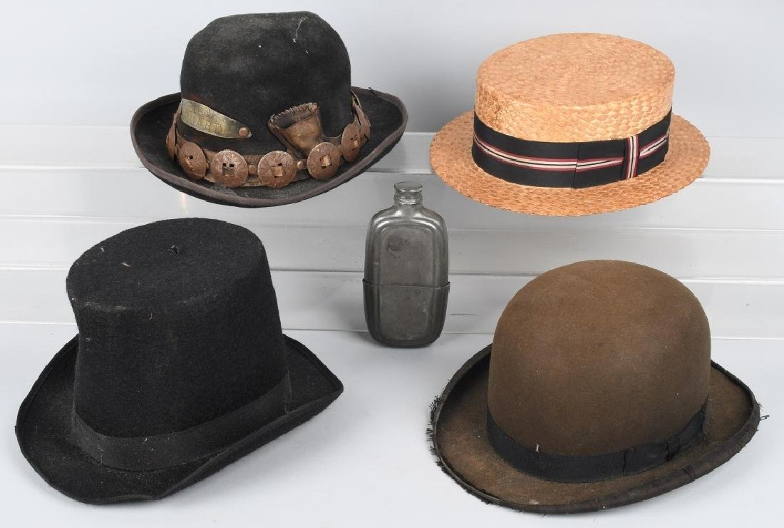 4-VINTAGE HATS & PEWTER LIQUOR FLASK