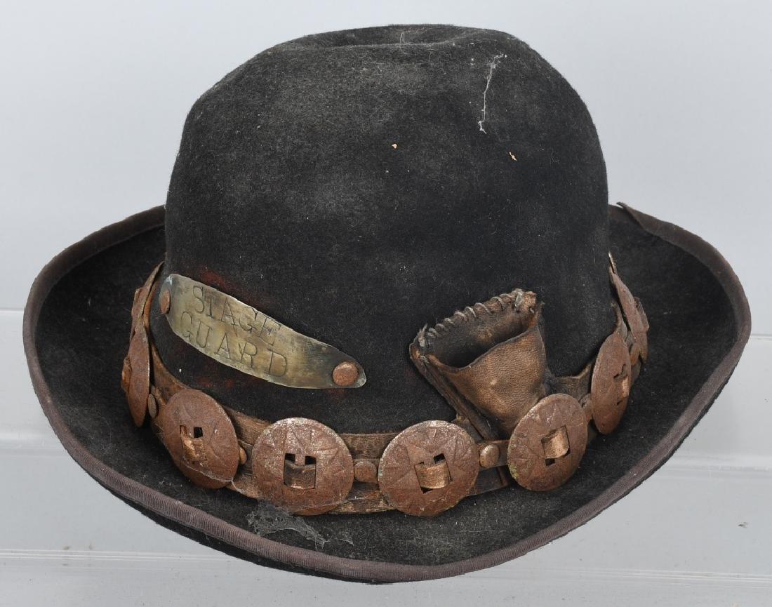 4-VINTAGE HATS & PEWTER LIQUOR FLASK - 4