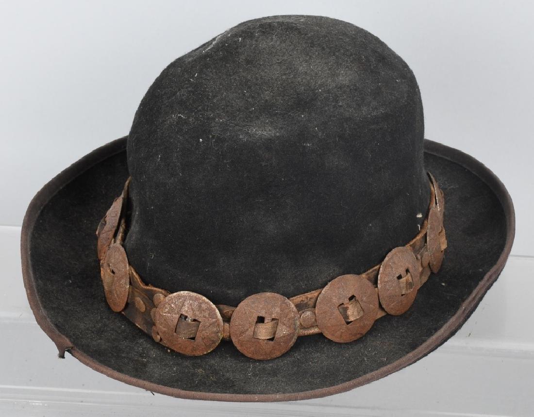 4-VINTAGE HATS & PEWTER LIQUOR FLASK - 6