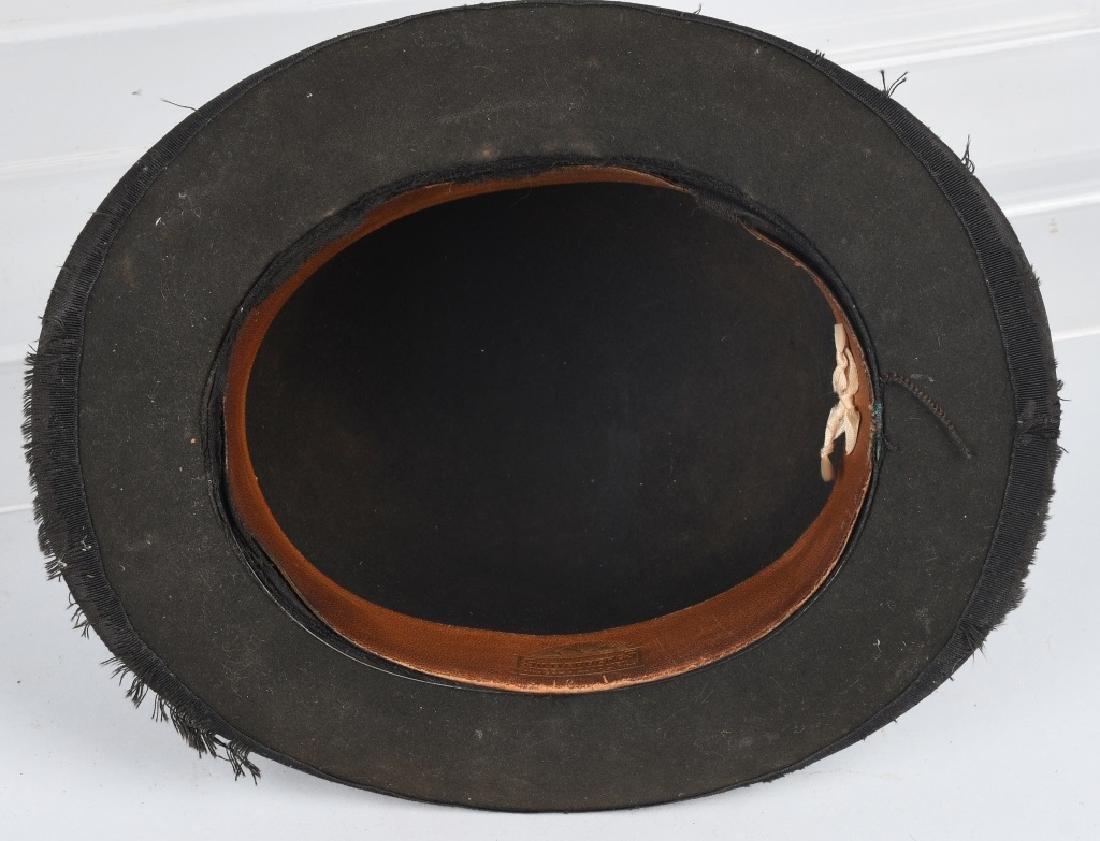 4-VINTAGE HATS & PEWTER LIQUOR FLASK - 8