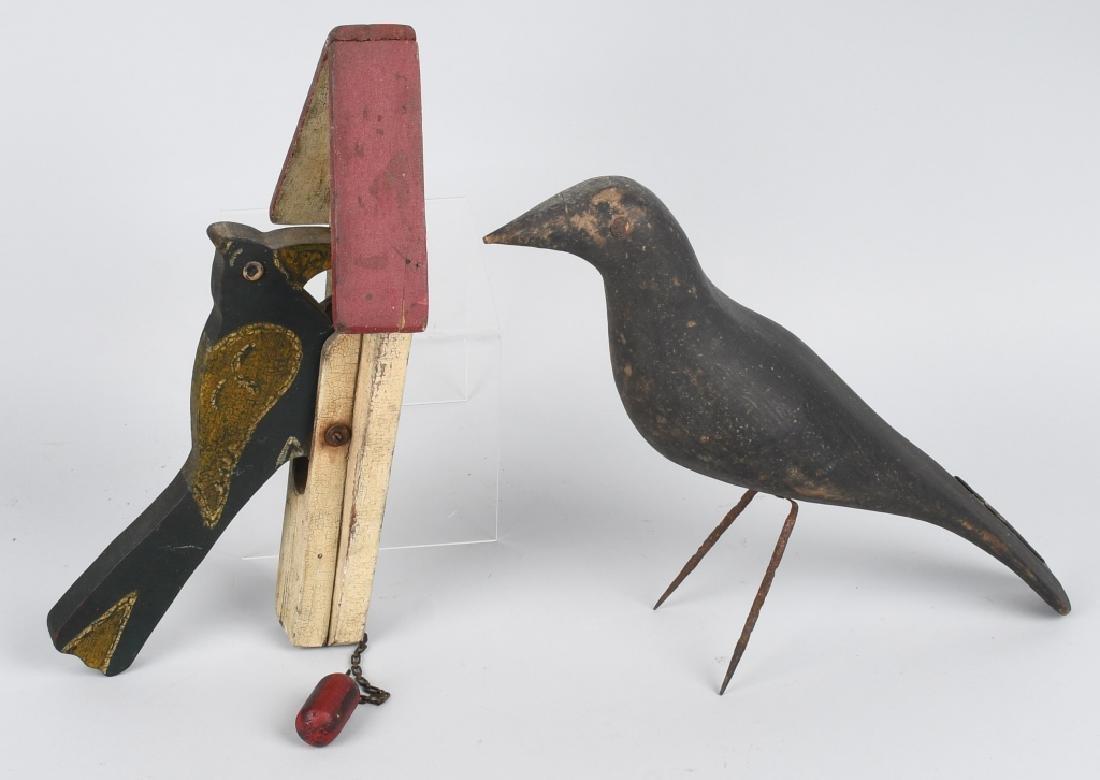 RAVEN BIRD DECOY & FOLK ART BIRD DOOR KNOCKER