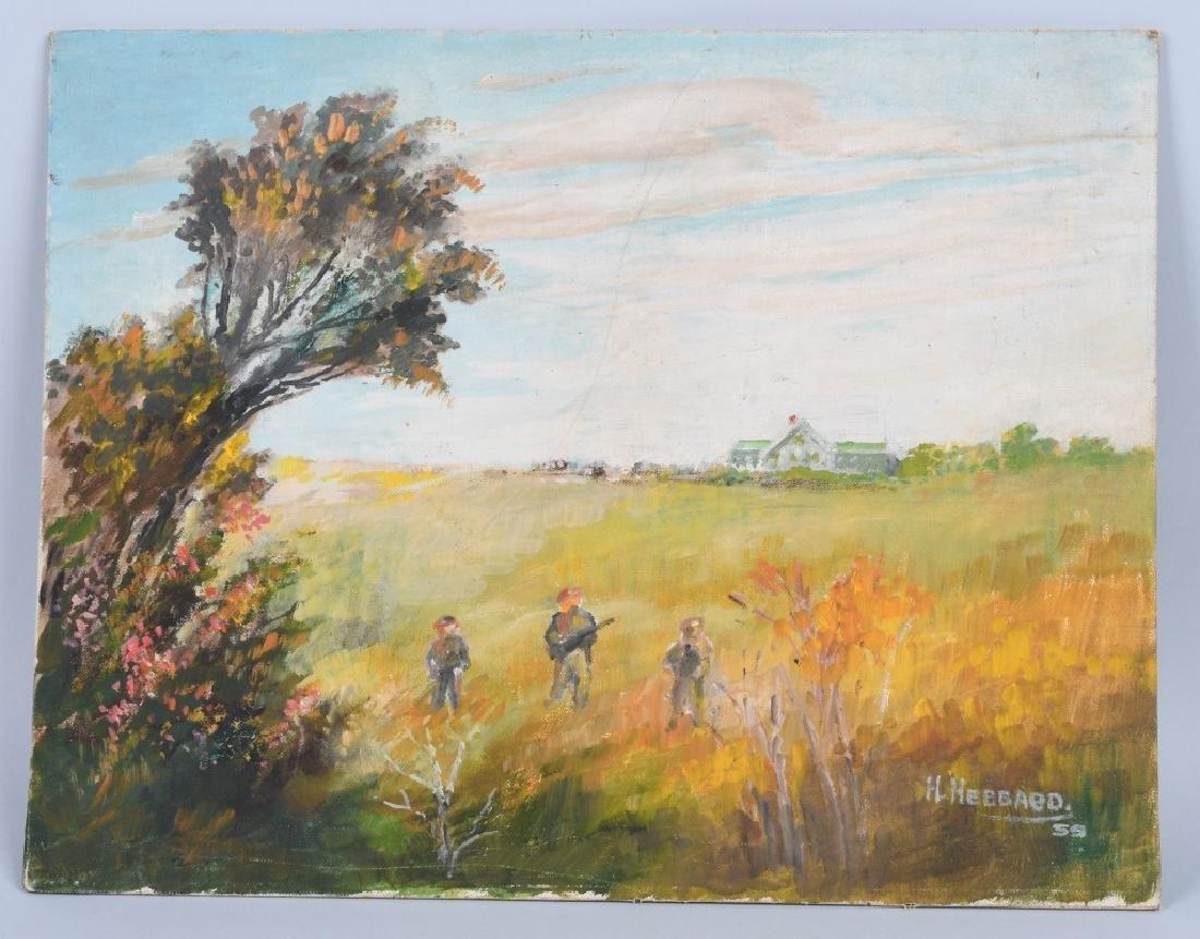 H. HEBBARD HUNTERS IN FIELD OIL ON BOARD
