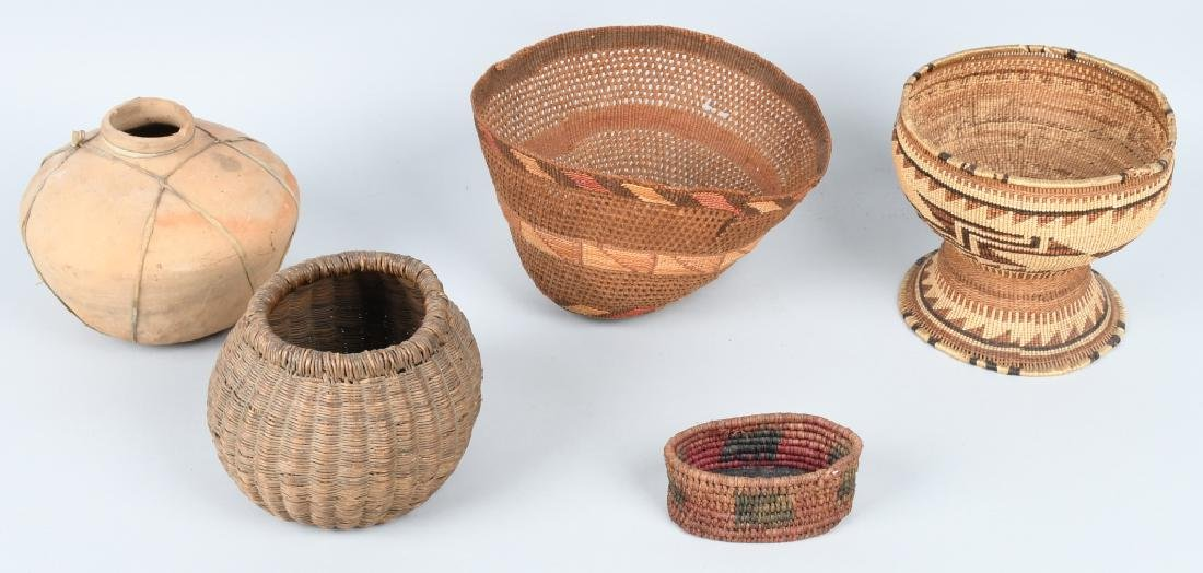 4- INDIAN BASKETS & INDIAN POTTERY VESSEL