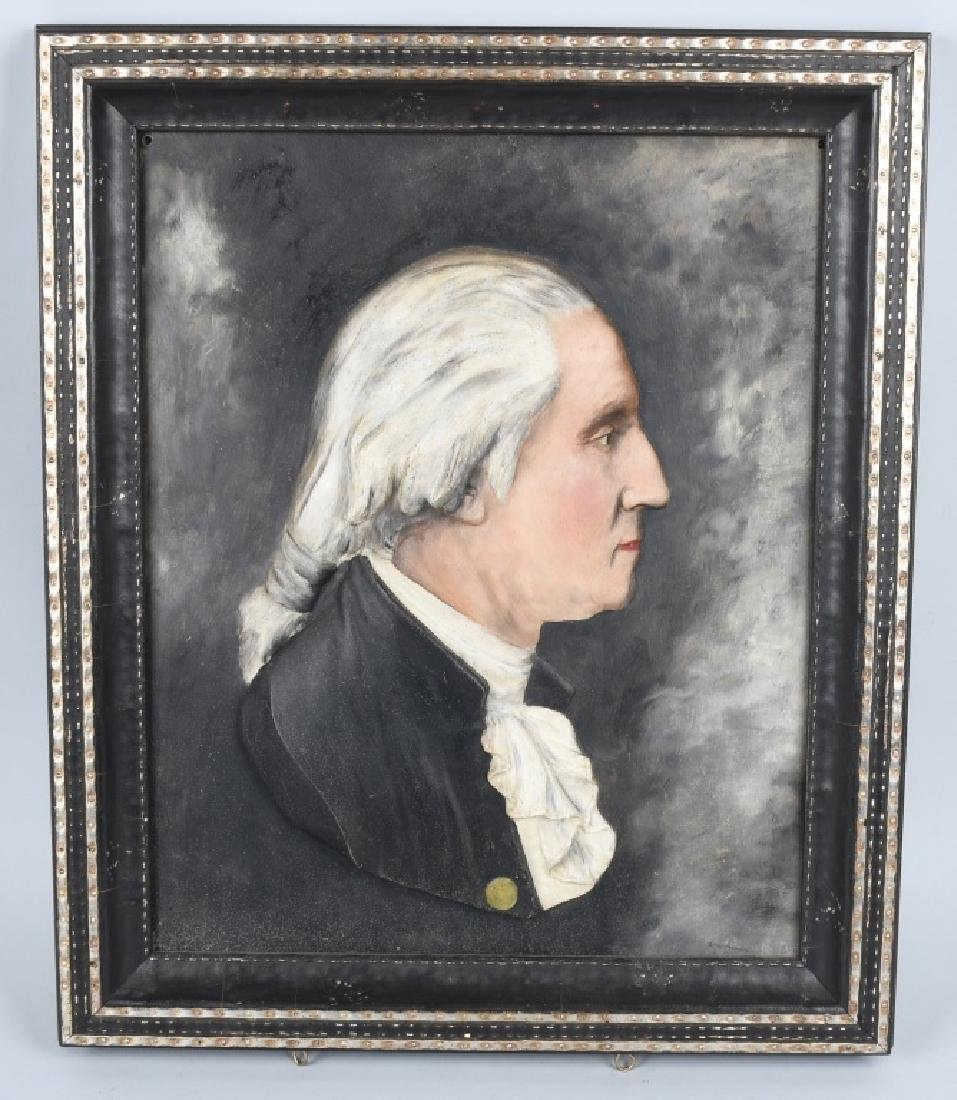 GEORGE WASHINGTON METAL PAINTED PLAQUE, FRAMED