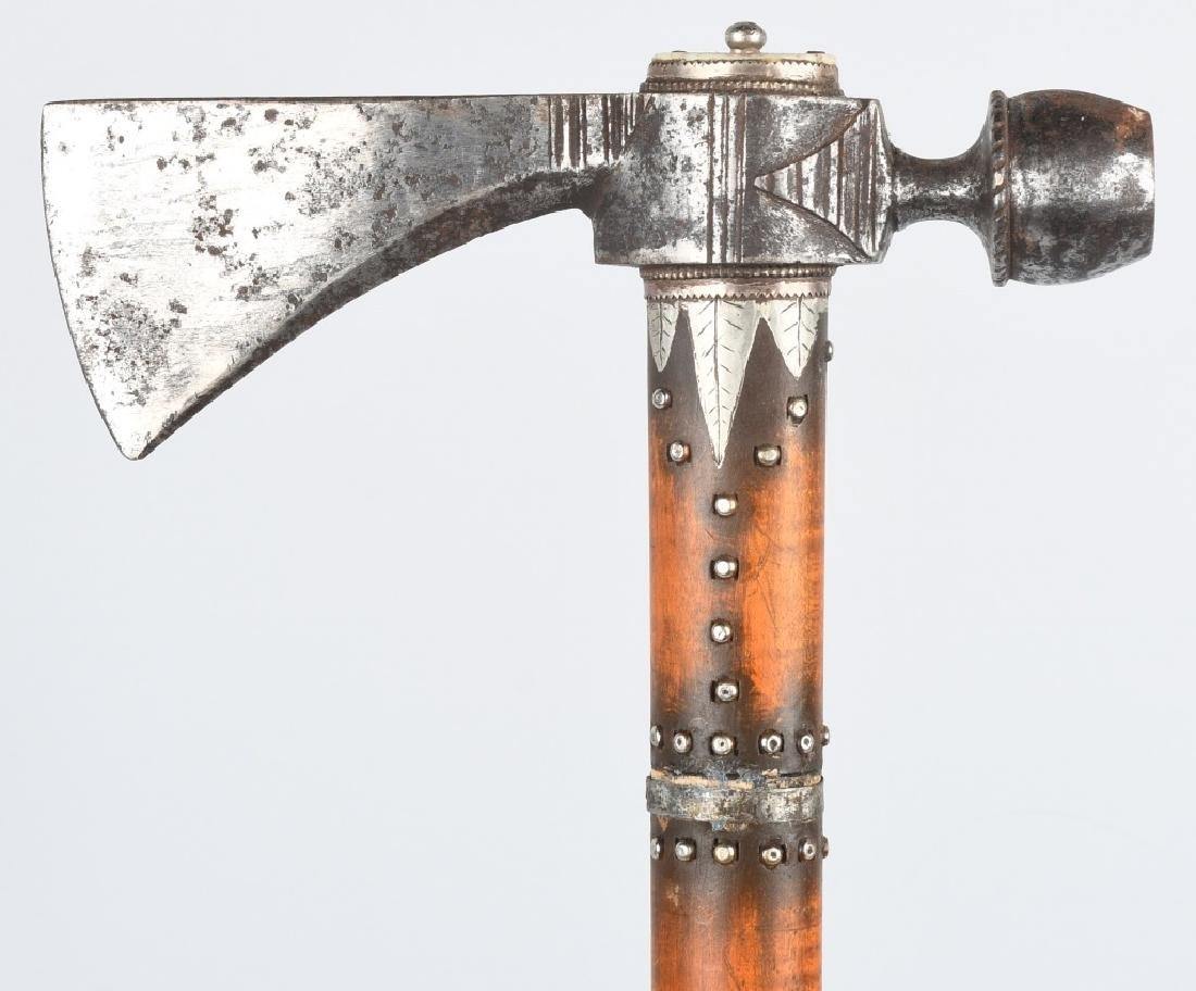 PIPE TOMAHAWK, BONE & SILVER DECORATED - 4