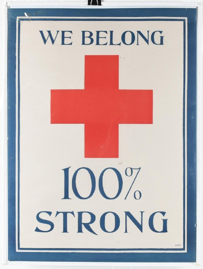 WW1 RED CROSS 100% STRONG POSTER