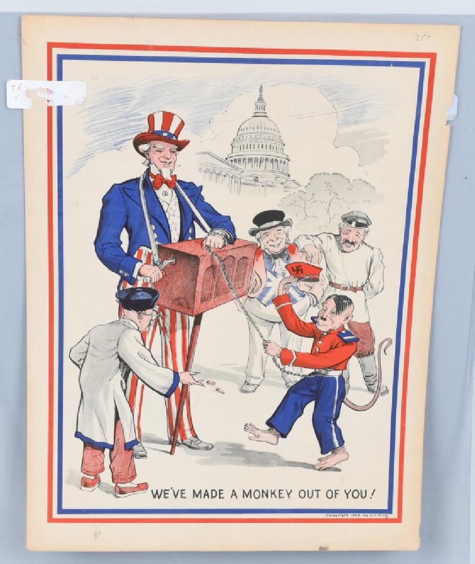 WW2 UNCLE SAM & HITLER ANTI-AXIS POSTER