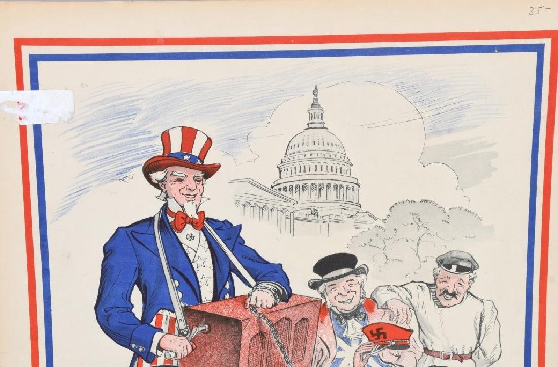 WW2 UNCLE SAM & HITLER ANTI-AXIS POSTER - 2