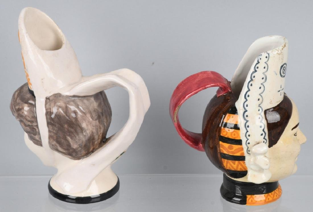 4- HENRIOT QUIMPER POTTERY FIGURES & FACE PITCHERS - 8