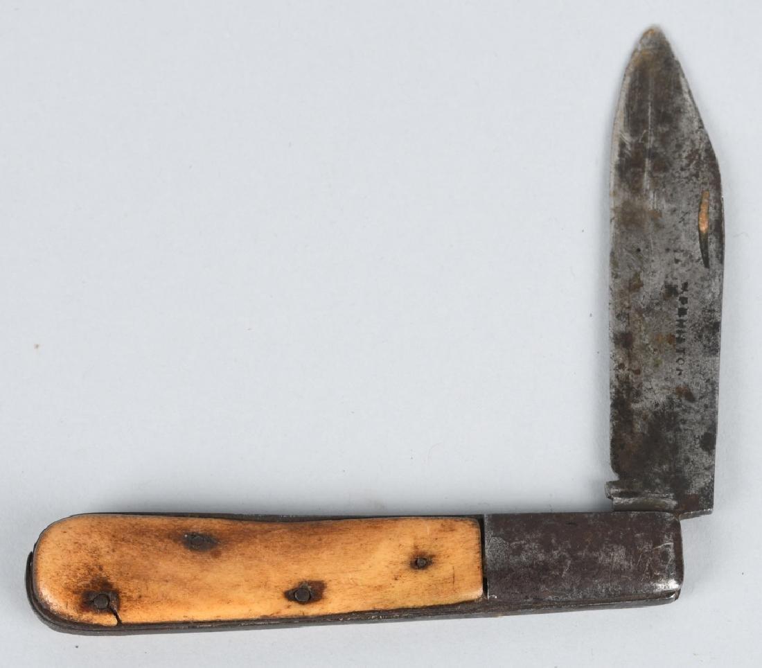 2-BONE HANDLED KNIVES, FIXED BLADE & POCKET - 10
