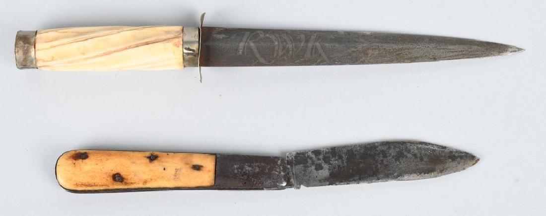 2-BONE HANDLED KNIVES, FIXED BLADE & POCKET