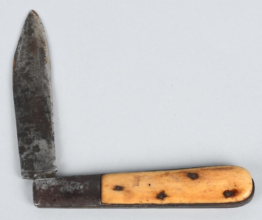 2-BONE HANDLED KNIVES, FIXED BLADE & POCKET - 9