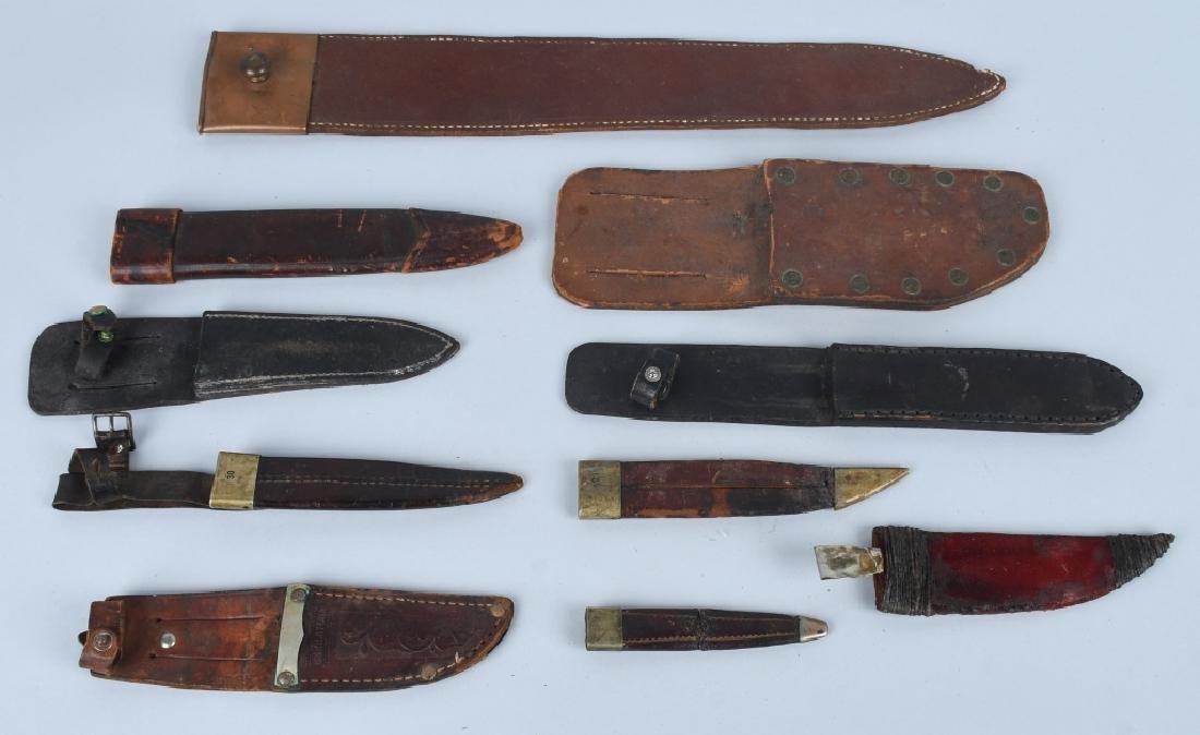 6-VINTAGE FIXED BLADE KNIFE SHEATHES