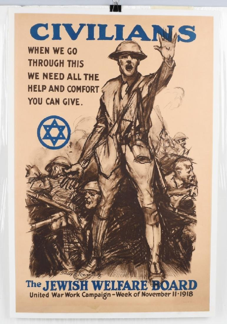 1918 WW1 JEWISH WELFARE BOARD POSTER