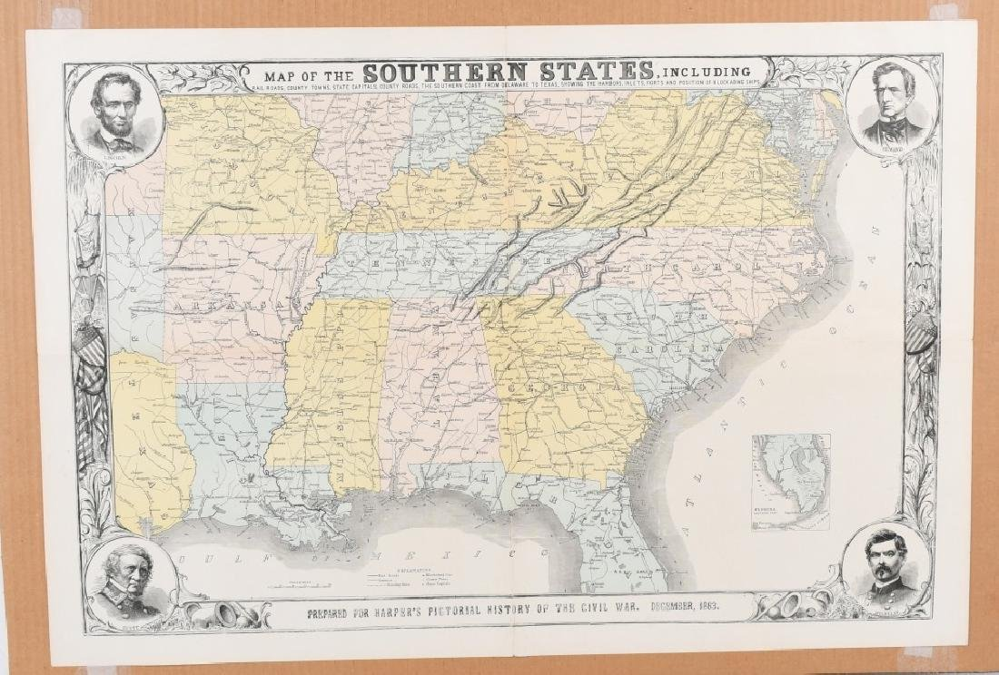 1863 HARPER'S SOUTHERN STATES MAP