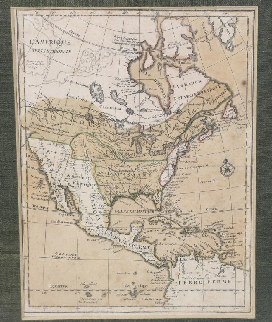 "FRENCH 1750 MAP OF NORTH AMERICA ""L'AMERIQUE"" - 2"