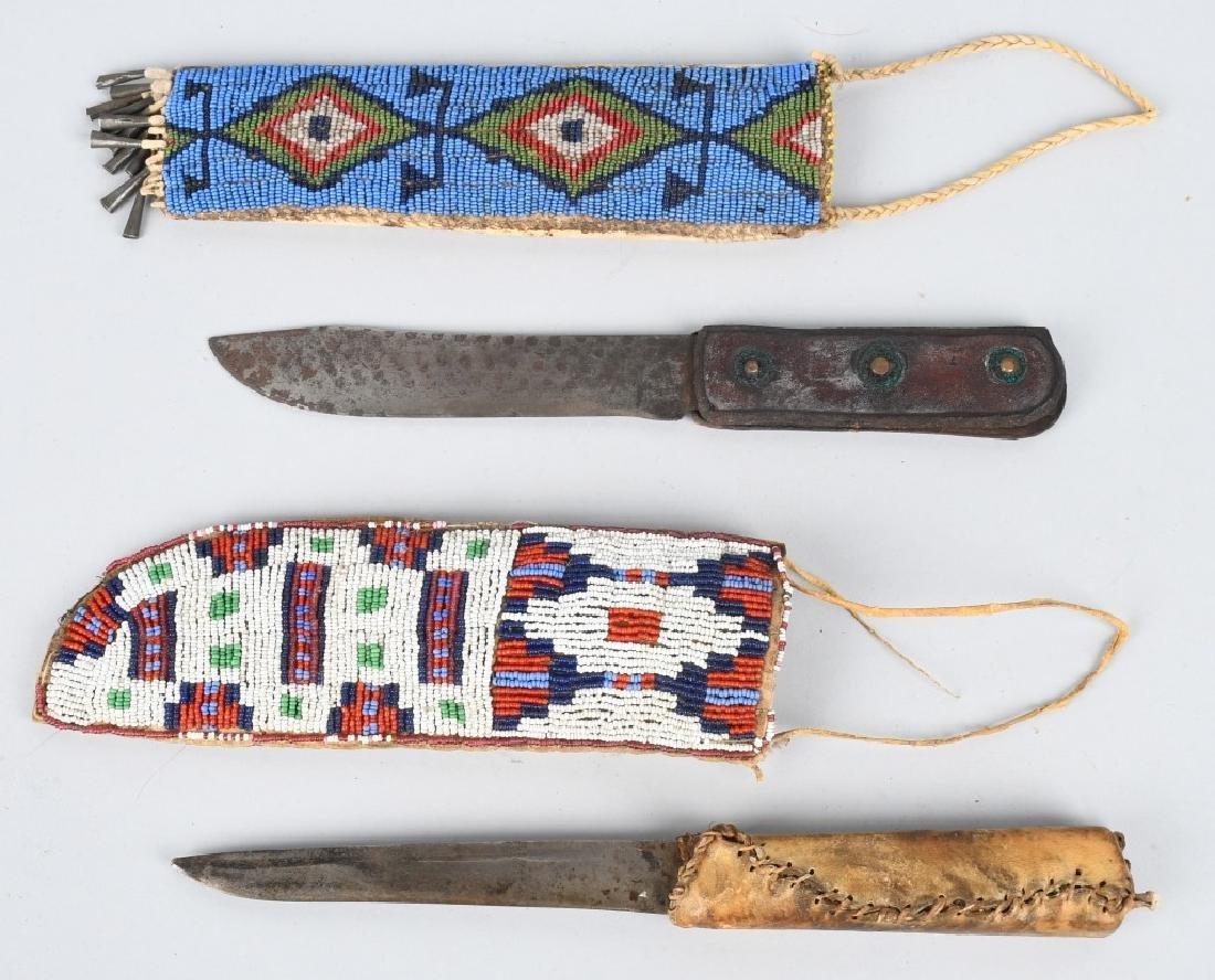 2-FIXED BLADE KNIVES with BEADED SHEATHS