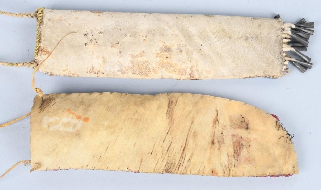2-FIXED BLADE KNIVES with BEADED SHEATHS - 3
