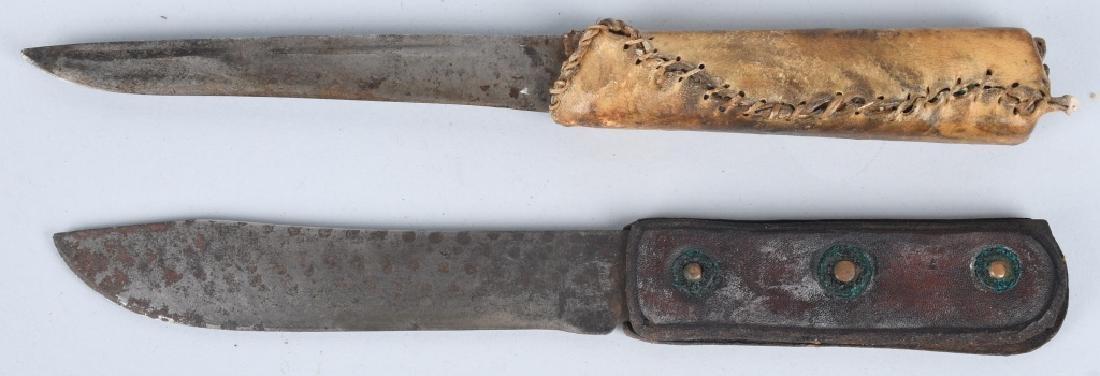 2-FIXED BLADE KNIVES with BEADED SHEATHS - 5